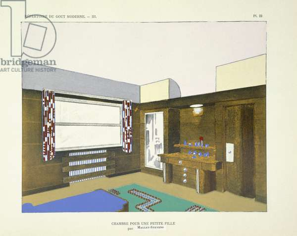 Bedroom of a young girl, from 'Repertoire of Modern Taste', published 1929 (colour litho)