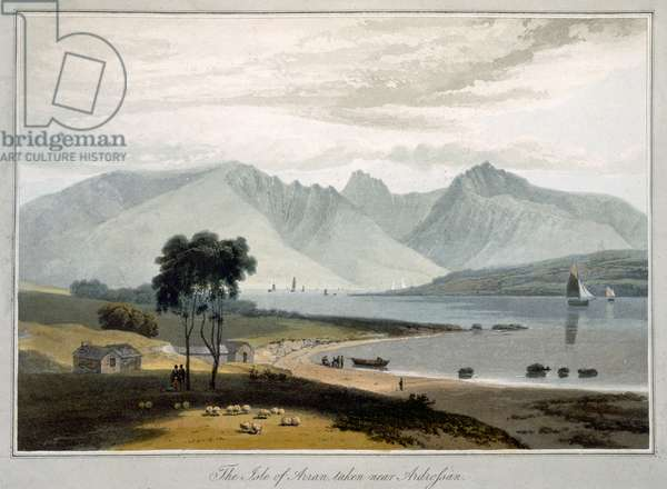 Isle of Arran seen from Ardrossan, from 'A Voyage Around Great Britain Undertaken Between the Years 1814 and 1825' published in London, 1817 (hand coloured engraving)