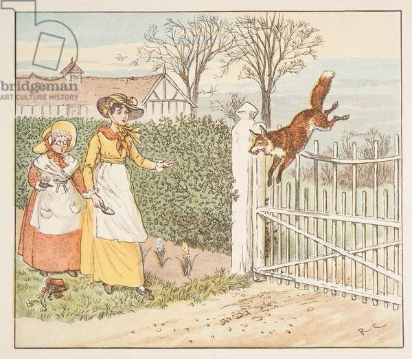The Fox jumps over the Parson's gate, from The Hey Diddle Diddle Picture Book, pub.1882 (colour engraving)