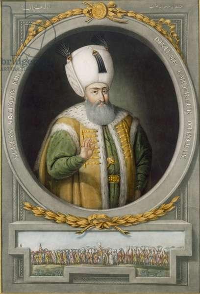 Sultan Suleiman Khan I, 10th Sultan of the Ottoman Empire, 1815 (colour litho)