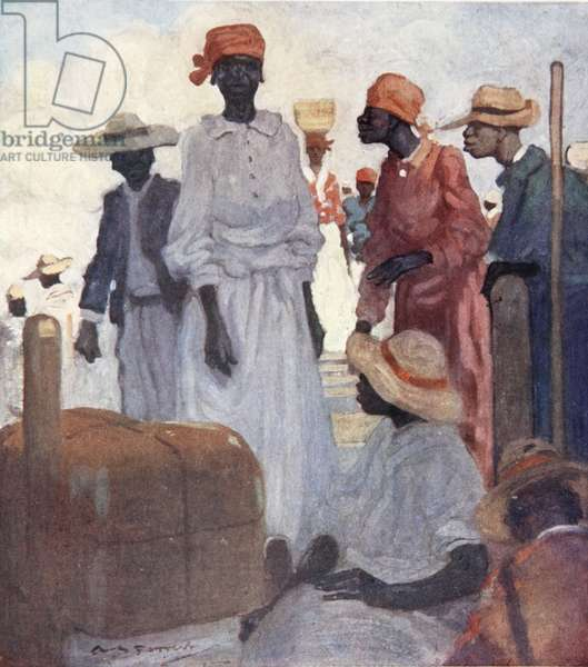 Passengers Embarking from a Quay, St. Ann's Bay, Jamaica, from a portfolio of privately printed watercolours of 'The West Indies' (colour litho)