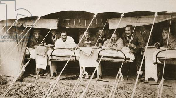 A sample of departmental efficiency in the allied army at Salonika, a British field-hospital tent, from 'The Illustrated War News' (b/w photo)