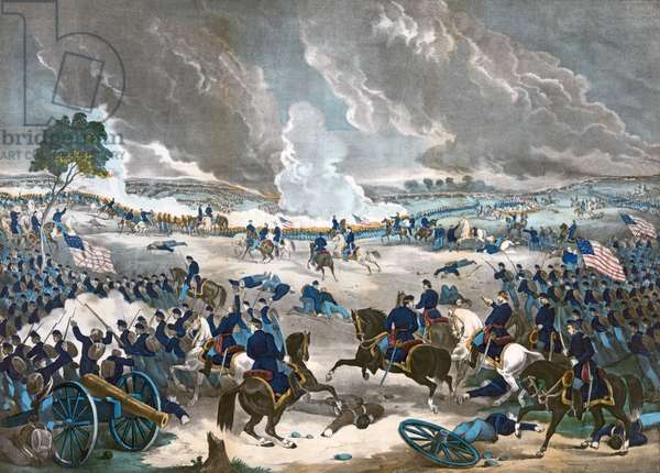 The Battle of Gettysburg, pub. 1867 (colour litho)
