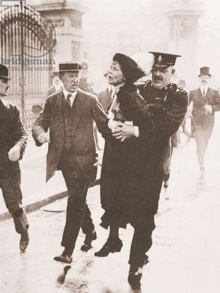 Emmeline Pankhurst's arrest outside Buckingham Palace, while trying to petition the king, 21st May 1914 (sepia photo)