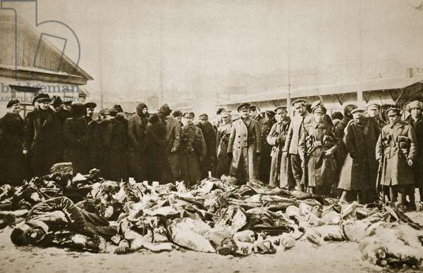 Red victims of the White Army (sepia photo)