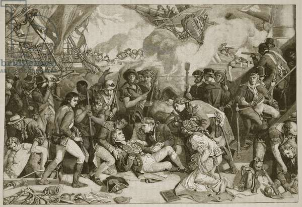 Death of Nelson, illustration from 'Cassell's Illustrated History of England' (engraving) (sepia photo)
