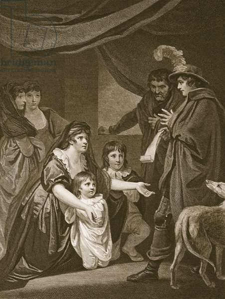 Lady Elizabeth Grey entreating Edward IV to protect her children, engraved by W. Bromley, illustration from David Hume's 'The History of England', pub. by R. Bowyer, London, 1812 (engraving)
