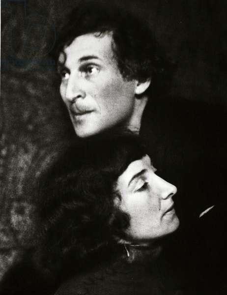 Marc and Bella Chagall (sepia photo)