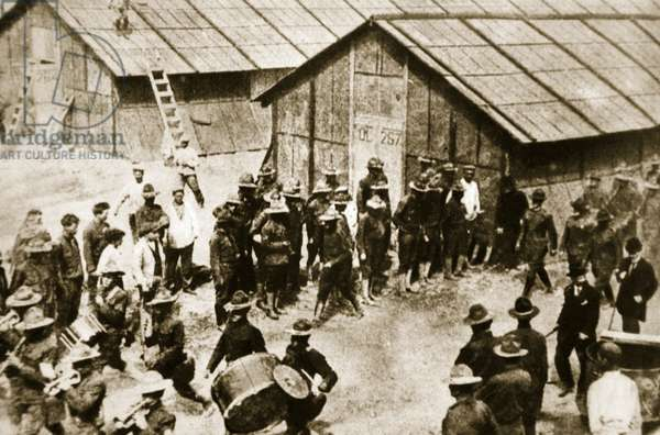 First contigent of American Expeditionary Force take possession of their barracks at St. Nazaire (sepia photo)