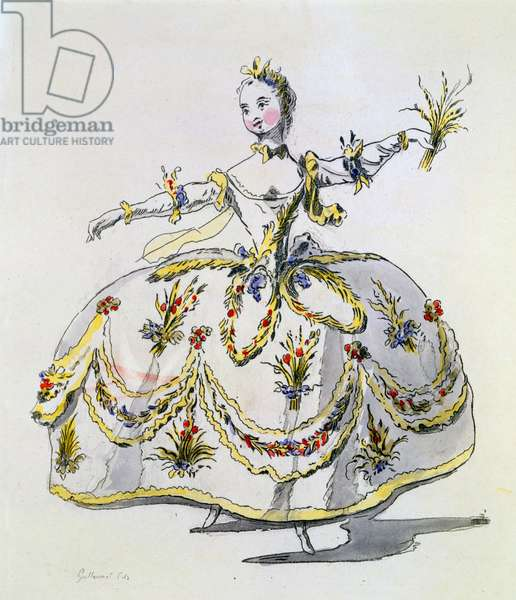 Costume Design for Ceres, facsimile made by A. Guillaumot Fils (hand-coloured engraving)