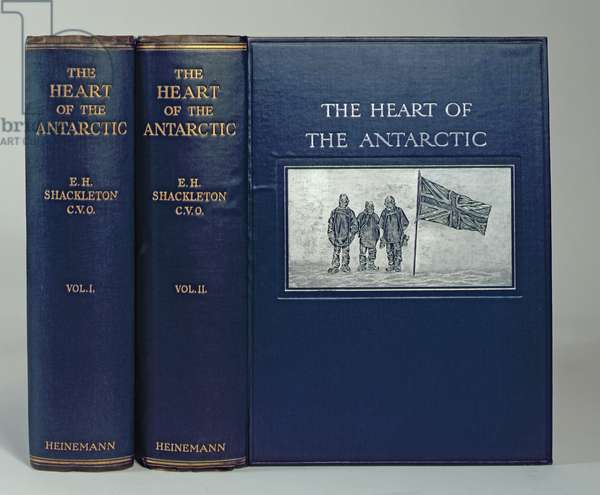 Front cover of 'The Heart of the Antarctic' by Sir Ernest Shackleton (1874-1922) c.1909 (leather and gold)
