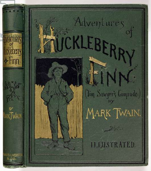 Cover of 'Adventures of Huckleberry Finn' by Mark Twain (1835-1910) first American edition, published by Charles L. Webster, 1885 (gold embossed cloth)