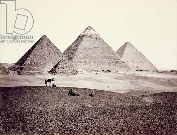 The Pyramids of El-Geezah, from the South-West, 1858 (b/w photo)