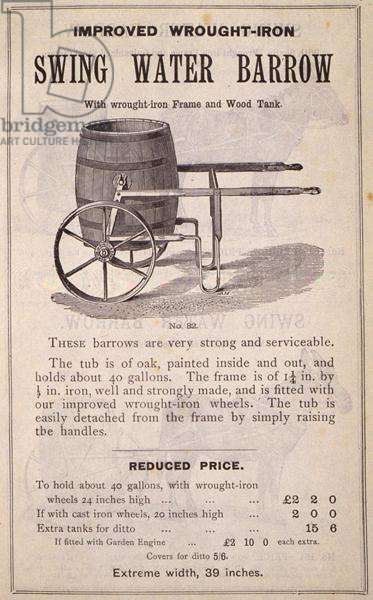 Swing Water Barrow, from the 'New Illustrated Catalogue of Garden Implements, Garden Furniture and Requisites', published by Wrinch & Sons, 1893 (engraving)