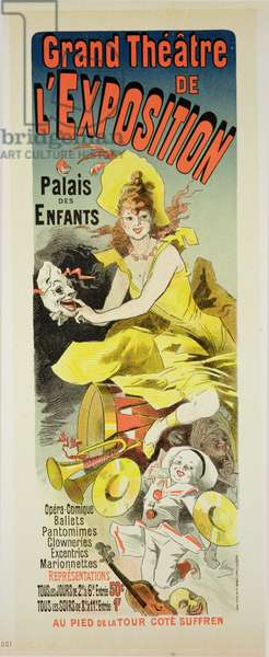 Reproduction of a poster advertising the 'Grand Theatre de L'Exposition', Palais des Enfants, Paris, 1889 (colour litho)