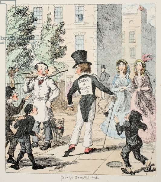 Mr Lambkin sallies forth in all the pride of power, with the secret and amiable intention of killing a certain Lady, Some envious rival makes known this deadly purpose, by means of a placard, from The Bachelor's Own Book or the Progress of Mr Lambkins, pub. 1844 (coloured engraving)