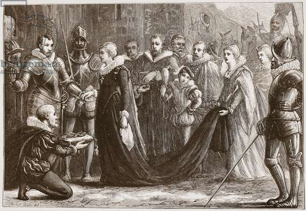 Mary Queen of Scots entering Holyrood, illustration from 'The History of Protestantism' by James Aitken Wylie (1808-1890), pub. 1878 (engraving)
