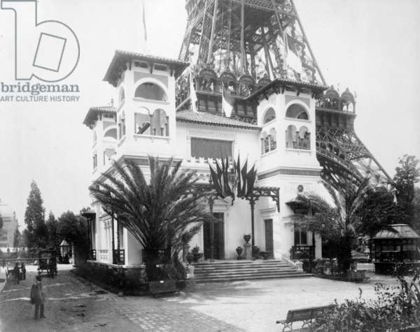 Pavillion of Monaco, with base of the Eiffel Tower in the background, Paris Exhibition, 1889 (b/w photo)