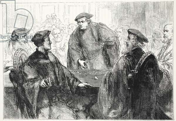 Luther and Zwingle discussing at Marburg, illustration from 'The History of Protestantism' by James Aitken Wylie (1808-1890), pub. 1878 (engraving)