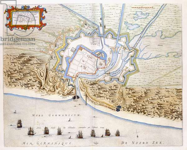 City of Dunkirk during the Spanish domination: plan showing the coastal defences, castle, and bastion fortifications, 1649 (hand-coloured engraving)