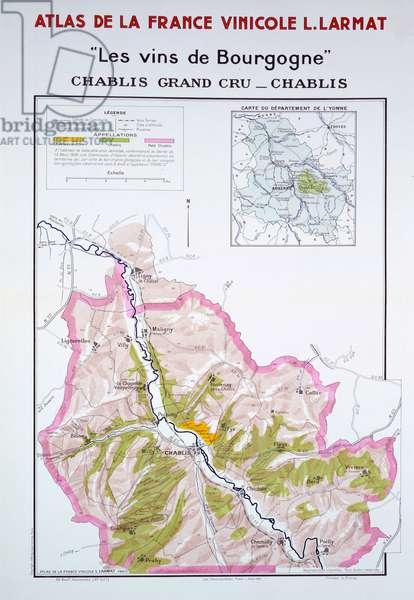 Map of the Burgundy Vineyards, illustration from 'Atlas de la France Vinicole' by Louis Larmat, published 1942 (colour litho)