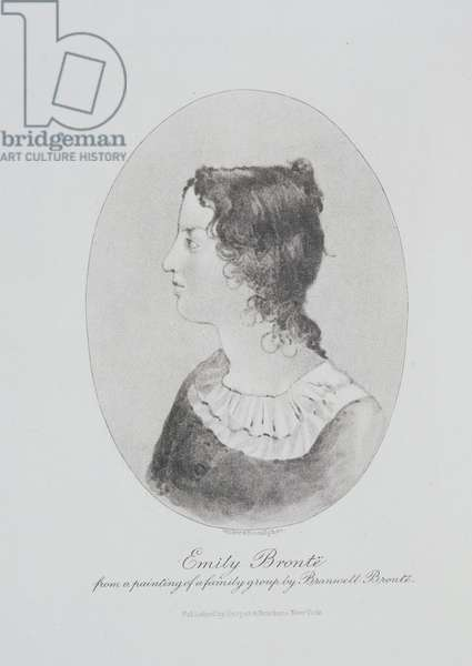 Portrait of Emily Bronte (1818-48) engraved by Walker and Boutall (engraving)