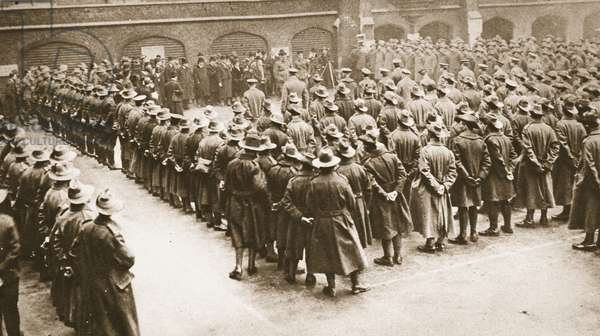 'Prouder to call ourselves Australians': Mr Hughes, Commonwealth Premier, addressing convalescent Australians in London, from 'The Illustrated War News', 1916 (b/w photo)