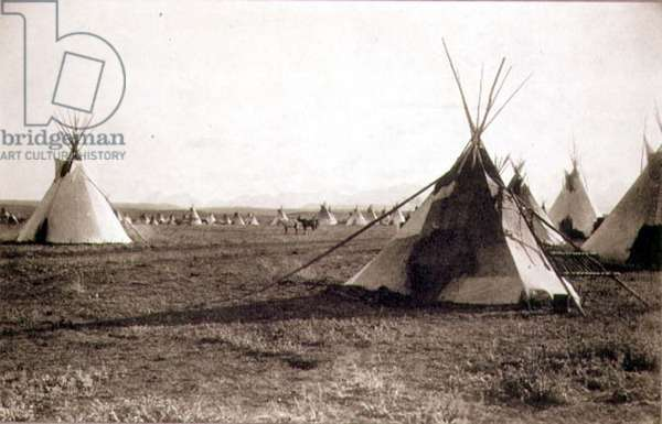 Indian Tents, photographed by the Royal Engineers on the Forty-Ninth Parallel (sepia photo)