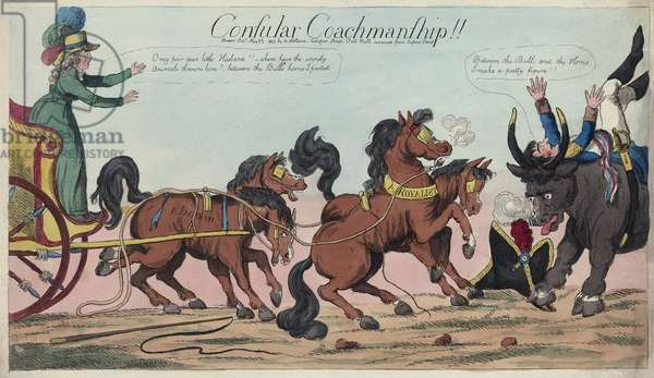 Consular Coachmanship!!, published By William Holland,  May 22, 1803 (hand coloured engraving)