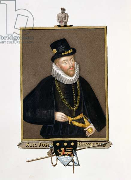 Portrait of Sir John Hawkins (1532-95) from 'Memoirs of the Court of Queen Elizabeth' after a triple portrait by Custodis (d.1598) published in 1825 (w/c and gouache on paper)