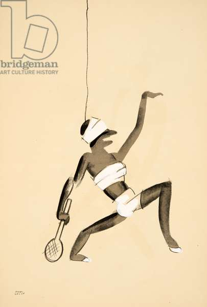 Dancer dressed as a tennis player from Le Tumulte Noir by Paul Colin, pub. 1929 (pochoir print)