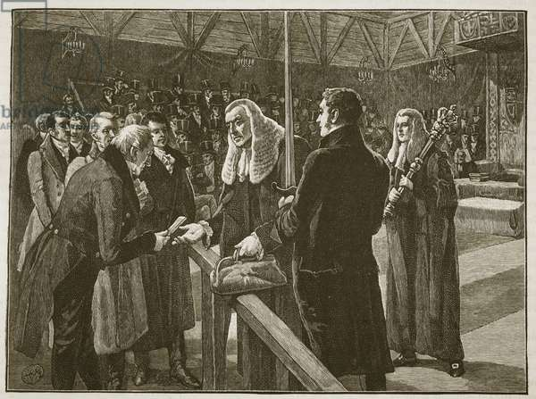 Conference between the Houses of Parliament, 1835, illustration from 'Cassell's Illustrated History of England' (engraving) (sepia photo)