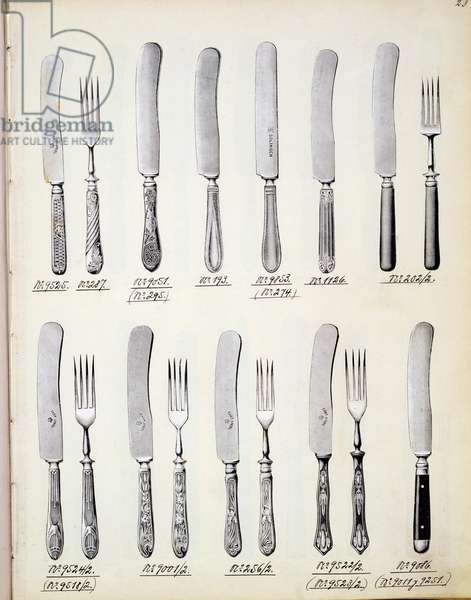 Cutlery designs, from a trade catalogue of domestic goods and fittings, c.1890-1910 (litho)