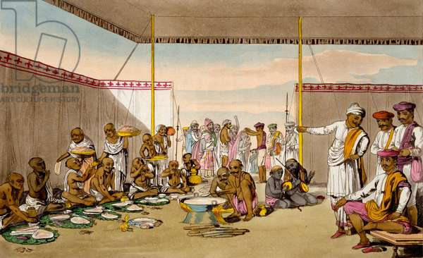 A Mahratta Surdar entertaining Brahmins, from 'The Costume, Character, Manners, Domestic Habits and Religious Ceremonies of the Mahrattas' by T. D. Broughton, etching by Baxter, 1813 (colour litho)