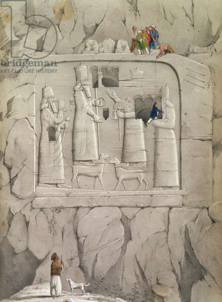 Examining an Assyrian Rock Sculpture, from 'Discoveries in the Ruins of Nineveh and Babylon' by Austen Henry Layard (1817-94) 1853 (colour litho)