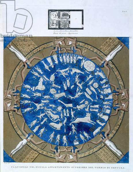 Astrological planisphere of the zodiac of Dendarah, from the ceiling of the chapel at the Temple of Hathor, Dendarah, Egypt c.1802 (colour litho)