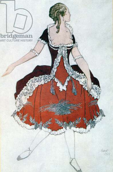Costume design for The Princess Aurora, from Sleeping Beauty, 1921 (colour litho)