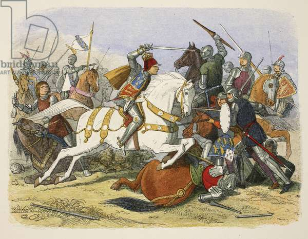 Richard III at Bosworth Field, 22 August 1485, from A Chronicle of England BC 55 to AD 1485, pub. London, 1863 (colour litho)