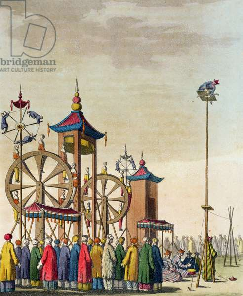 A Chinese circus, illustration from 'Le Costume Ancien et Moderne' by Giulio Ferrario, published c.1820s-30s (coloured engraving)