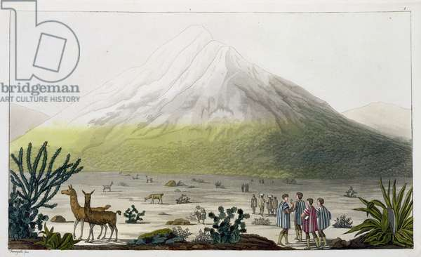 Mount Chimborazo, Ecuador, from 'Le Costume Ancien et Moderne', Volume II, plate 3, by Jules Ferrario, engraved by Paolo Fumagalli, published c.1820s-30s (colour litho)