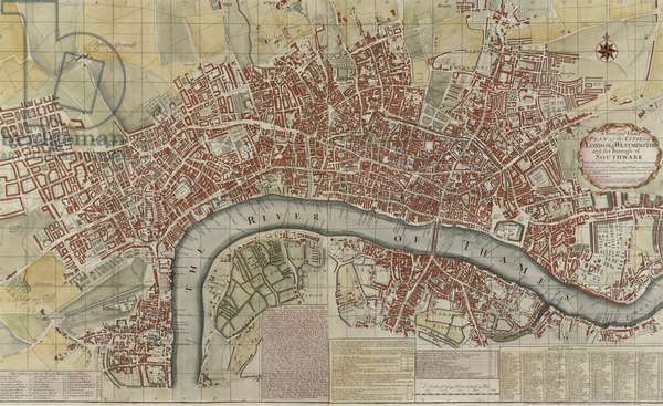 A New and Exact Plan of the Cities of London and Westminster and the Borough of Southwark, 1725 (colour litho)