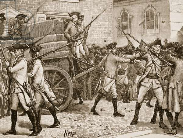 Troops escourting the stamped paper to the City Hall, New York, 1766, illustration from 'Cassell's Illustrated History of England' (engraving) (sepia photo)
