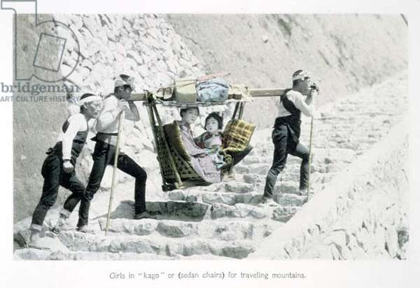 Girls in 'Kago' or sedan chairs for travelling mountains, c.1880 (hand coloured albumen print on card)