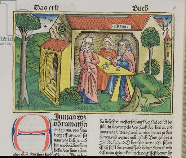 I Samuel 1:8 Elkanah comforts Hannah, from the 'Nuremberg Bible (Biblia Sacra Germanaica)' (coloured woodcut)