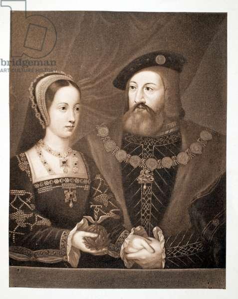 Mary Tudor and Charles Brandon, Duke of Suffolk, c.1515, pub. 1902 (collotype)