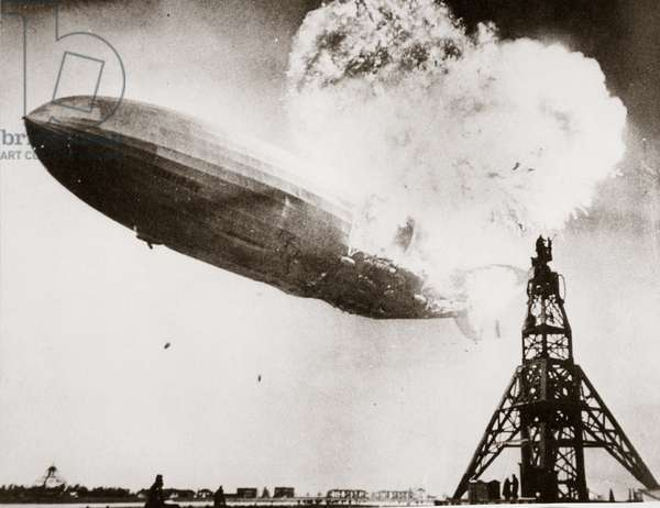 The Hindenburg blows up, Lakehurst, New Jersey, 6 May 1937 (b/w photo)