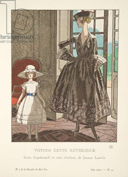Voyons Cette Révérence, from a Collection of Fashion Plates, 1920 (pochoir print)