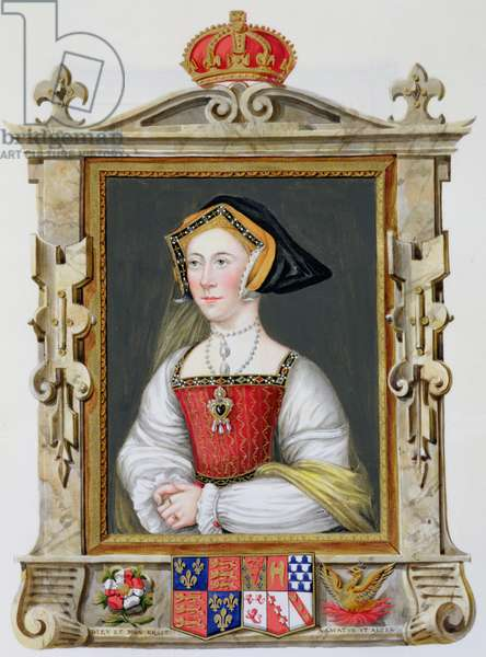 Portrait of Jane Seymour (c.1509-37) 3rd Queen of Henry VIII from 'Memoirs of the Court of Queen Elizabeth' after a portrait by Hans Holbein (1497/8-1543), published in 1825 (w/c and gouache on paper)