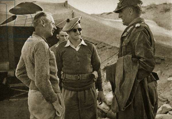 General Thoma (right) having just been captured at El Alamein, and General Montgomery (left) on 4th November 1942 (b/w photo)
