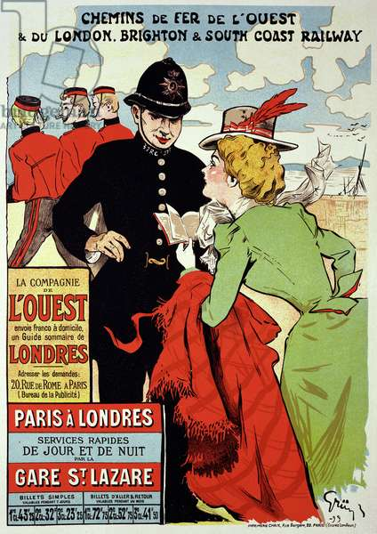 Reproduction of a Poster Advertising Trains from Paris to London, 1899 (litho)